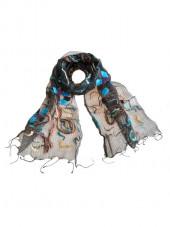 Foulard en soie, Fleurs géométriques bleu