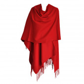 Grand Poncho rouge frangé