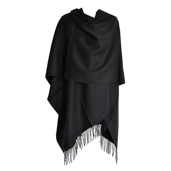 poncho noir avec franges pour femme acheter ponchos. Black Bedroom Furniture Sets. Home Design Ideas
