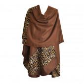 Poncho Full léopard marron arrondi