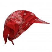 Bandana rouge paisley avec visière