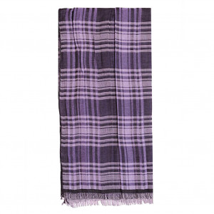 Chèche violet à carreaux