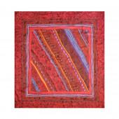 Carré de soie, obliques rouge vif