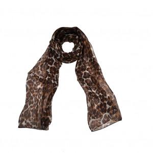 Foulard léopard marron en soie