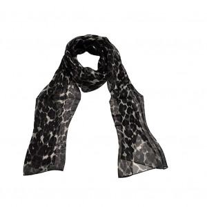 Foulard léopard noir en soie