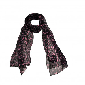 Foulard léopard rose en soie