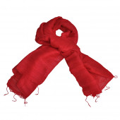Foulard en soie sauvage rouge