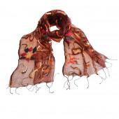 Foulard en soie, Fleurs géométriques rouille