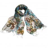 Foulard en soie, Papillons bleu