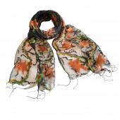 Foulard en soie, Feuilles d'automnes vert