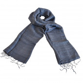 Foulard en soie sauvage bleu gris