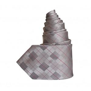 Cravate rayée Jacquard argenté