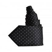 Cravate noire, pois blancs