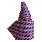 Cravate en soie marine et fushia