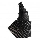 Cravate en soie noire et grise