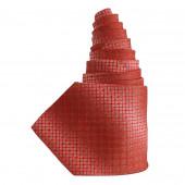 Cravate en soie rouge à carreaux