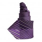 Cravate en soie noire et violette