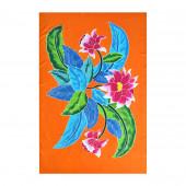 Paréo batik orange à fleurs