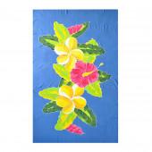 Paréo batik bleu fleuri