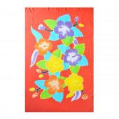Paréo batik rouge fleurs