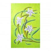 Paréo batik vert anis fleurs