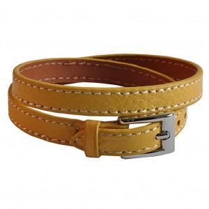 Bracelet en cuir jaune