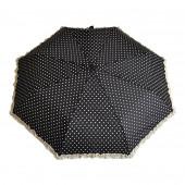 Parapluie froufrous noir à cœoeurs crèmes