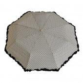 Parapluie froufrous blanc à coeœurs noirs