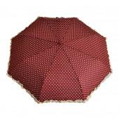Parapluie froufrous bordeaux à cœoeurs crèmes
