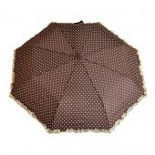 Parapluie froufrous marron à cœoeurs crèmes