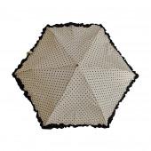 Parapluie « stylo » froufrous blanc à coeœurs noirs