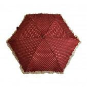 Parapluie « stylo » froufrous bordeaux à cœoeurs crèmes