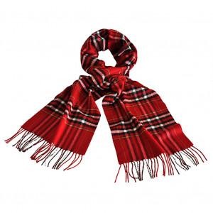 Echarpe à carreaux tartan rouge