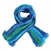 Echarpe soie froissée, bleu foncé