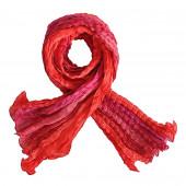 Echarpe soie froissée, rouge clair