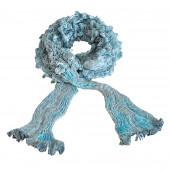 Echarpe en soie cloquée, bleu lagon