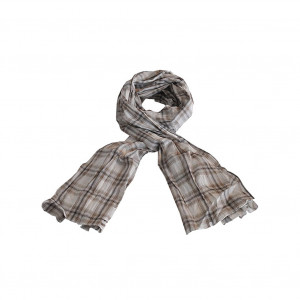 Echarpe foulard madras marron