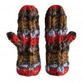 Moufles grosses mailles rouges