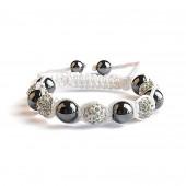 Shamballa 5 Perles - Blanc / Hematite