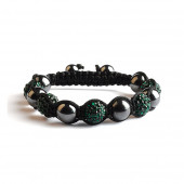 Shamballa 5 Perles - Vert Emeraude / Hematite