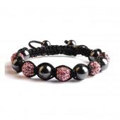 Shamballa 5 Perles - Rose pâle / Hematite