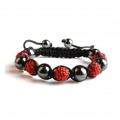 Shamballa 5 Perles - Rouge / Hematite