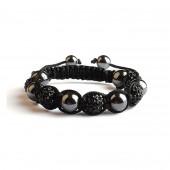 Shamballa 5 Perles - Noir / Hematite