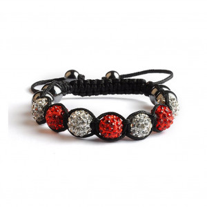 Shamballa 7 Perles - Rouge / Blanc