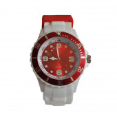 Montre Silicone, blanc / Rouge
