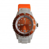 Montre Silicone, blanc / Orange