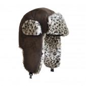 Chapka faux léopard gris foncé