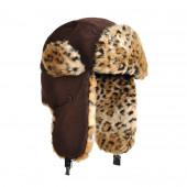 Chapka faux léopard marron foncé