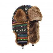 Chapka motifs péruviens, fourrure marron clair
