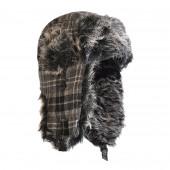 Chapka écossaise noire, fourrure gris/noir